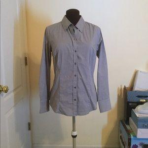 Gray striped button down long sleeve shirt